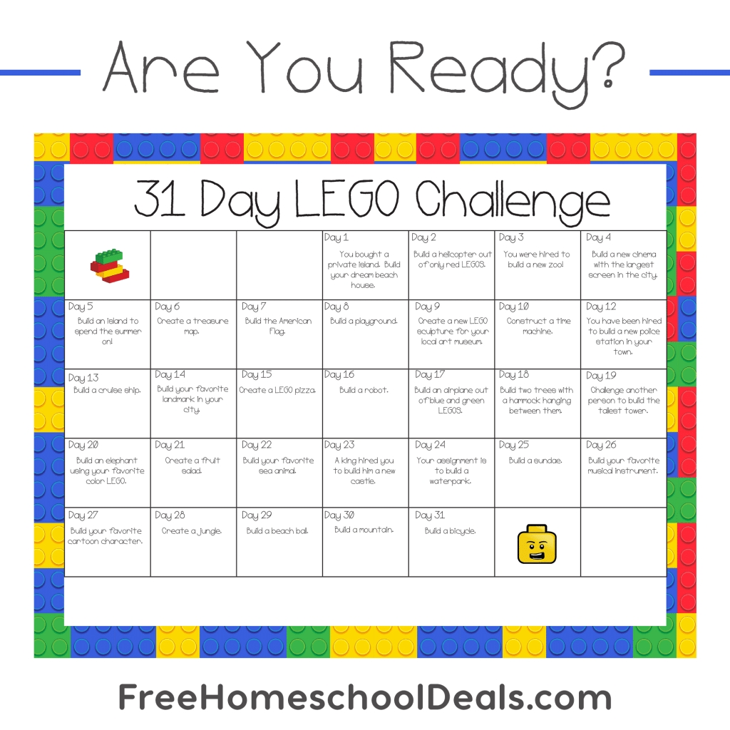 Free Printable 31 Day Lego Challenge (instant Download!)