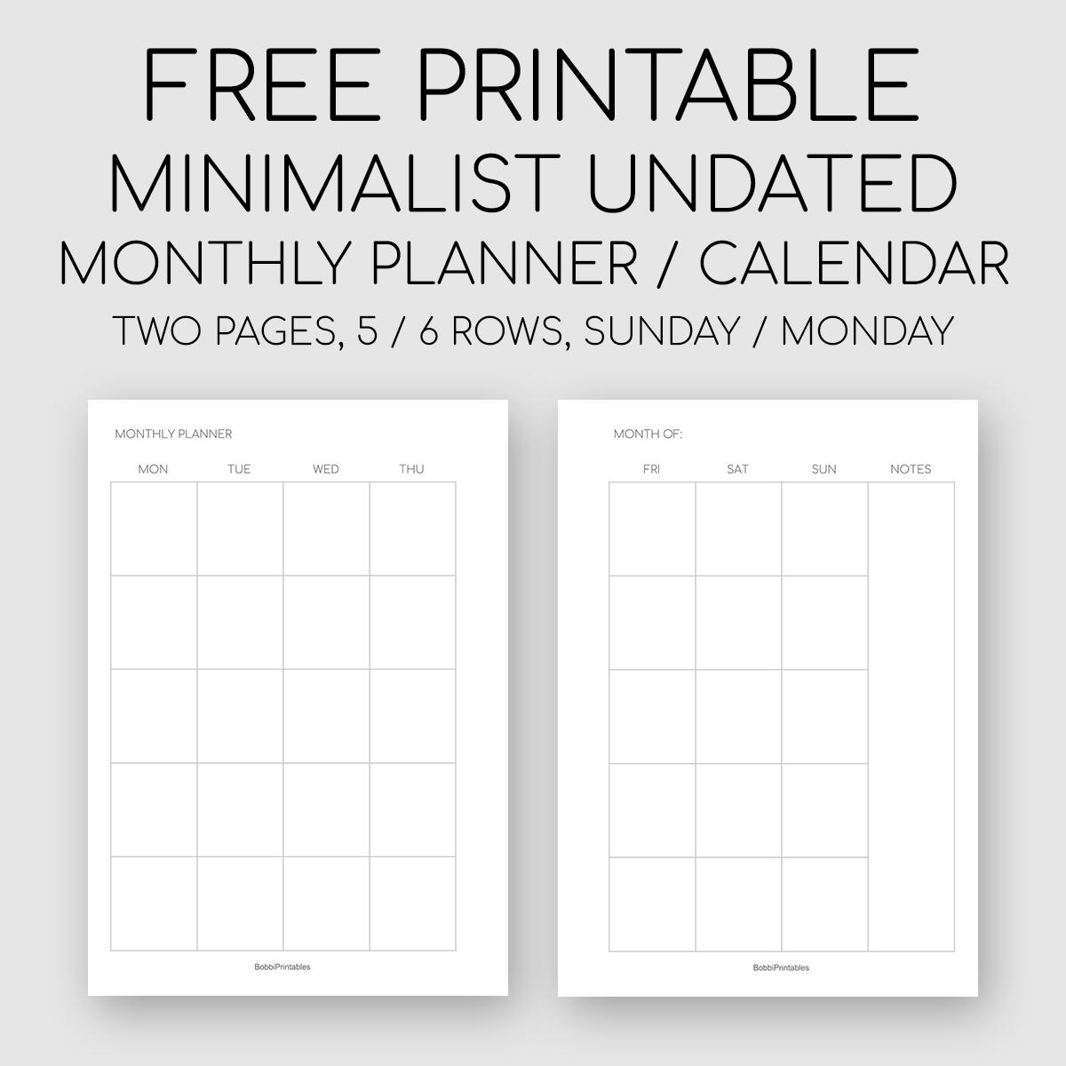 Free Printable Minimalist Monthly Planner / Undated Calendar