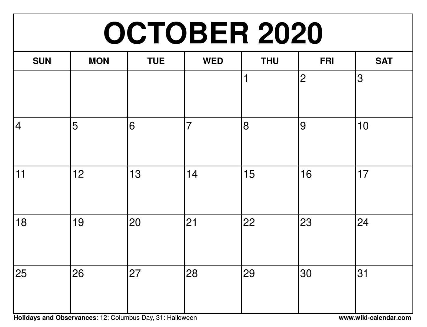 Free Printable October 2020 Calendars