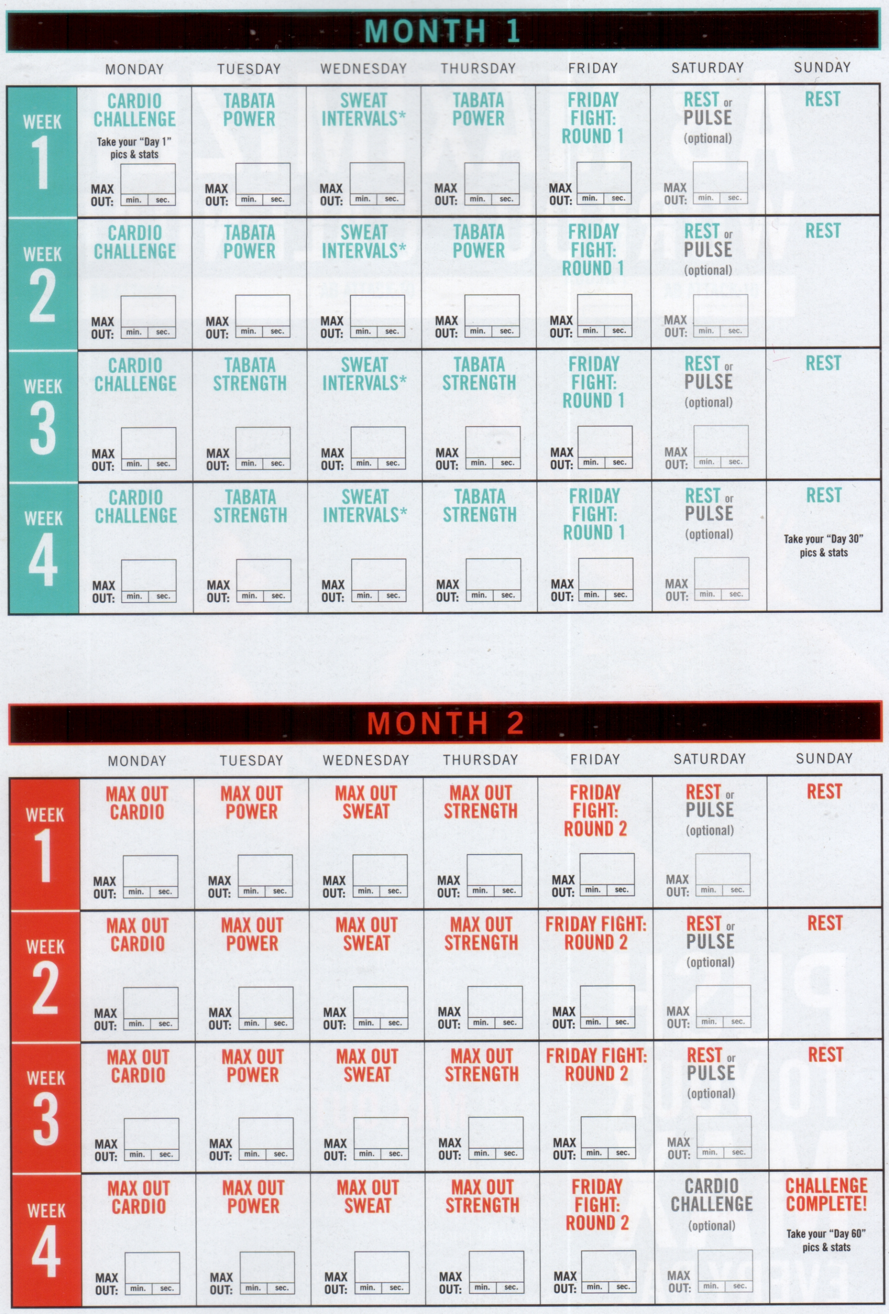 Insanity Max 30 Calendar Pdf | Calendar For Planning