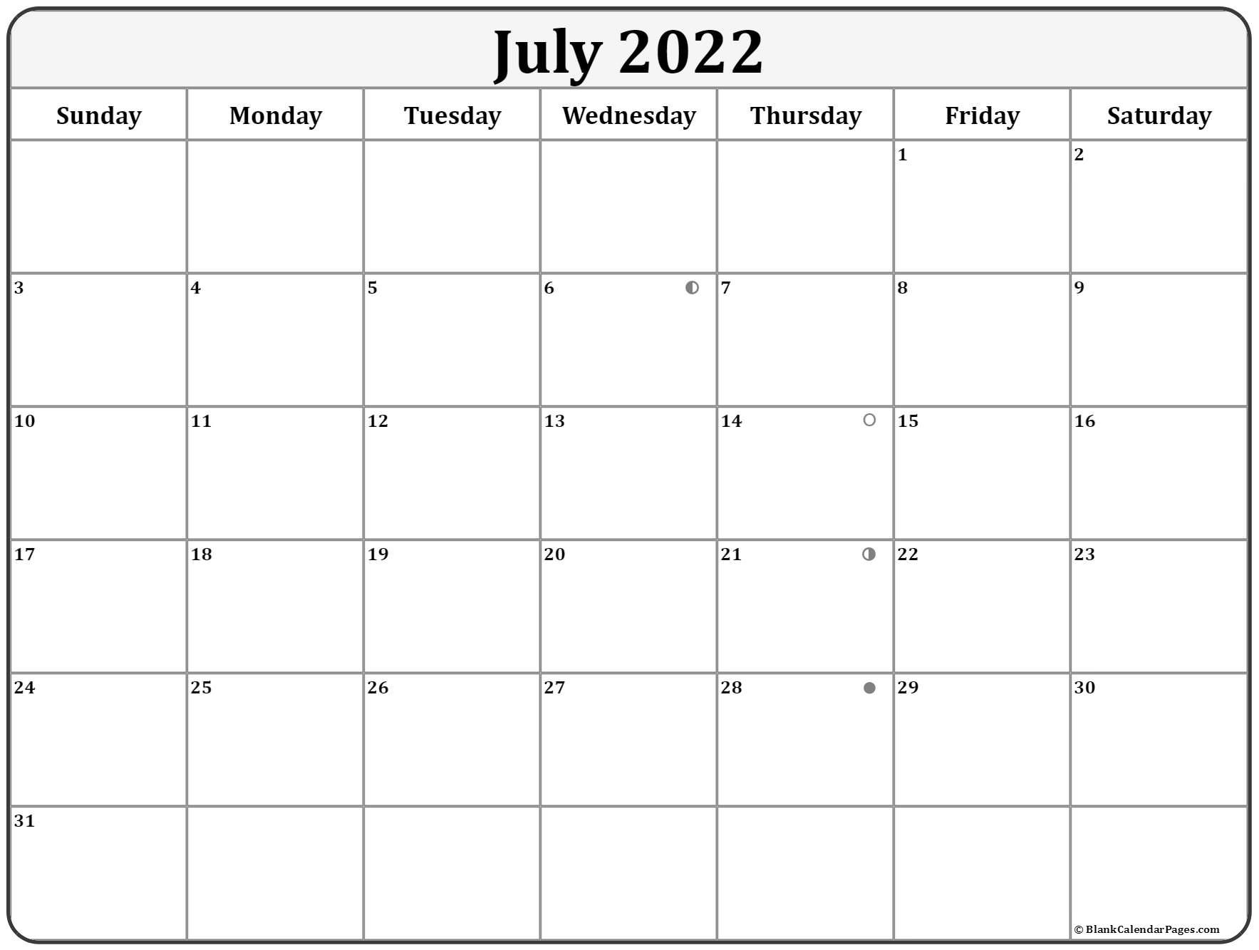 July 2022 Lunar Calendar | Moon Phase Calendar