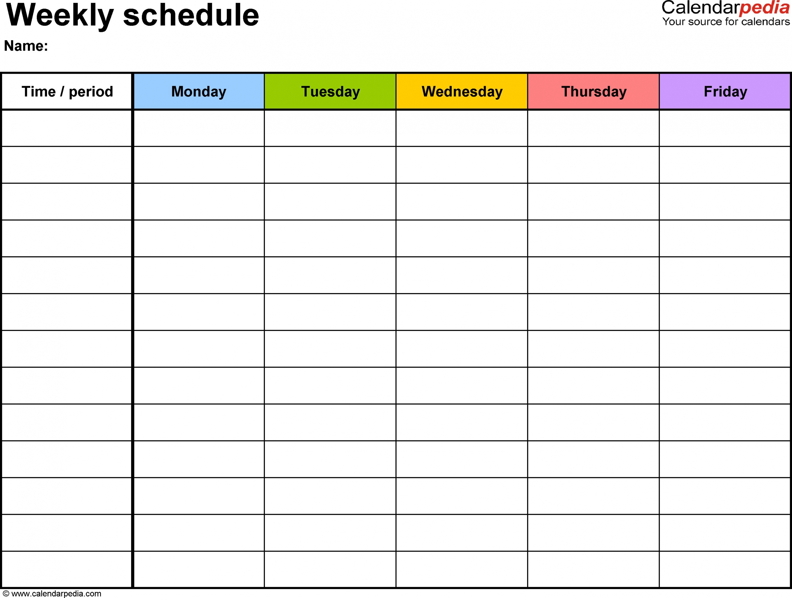 Monday Friday Calendar | Daily Schedule Template, Daily