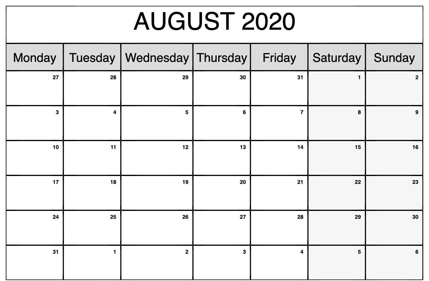 monthly calendar template august 2020 | editable calendar