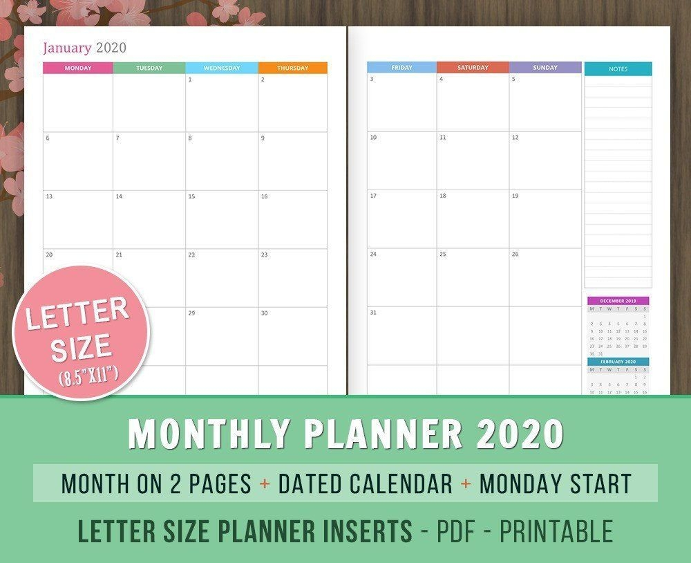 Monthly Planner 2020 Inserts Month On 2 Pages Dated Monthly