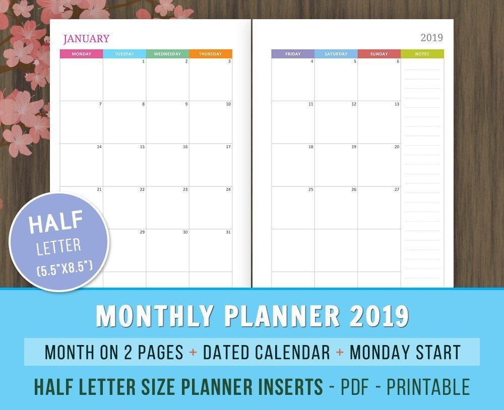 Monthly Planner 2021 Inserts Lined And Dated Mo2p Calendar