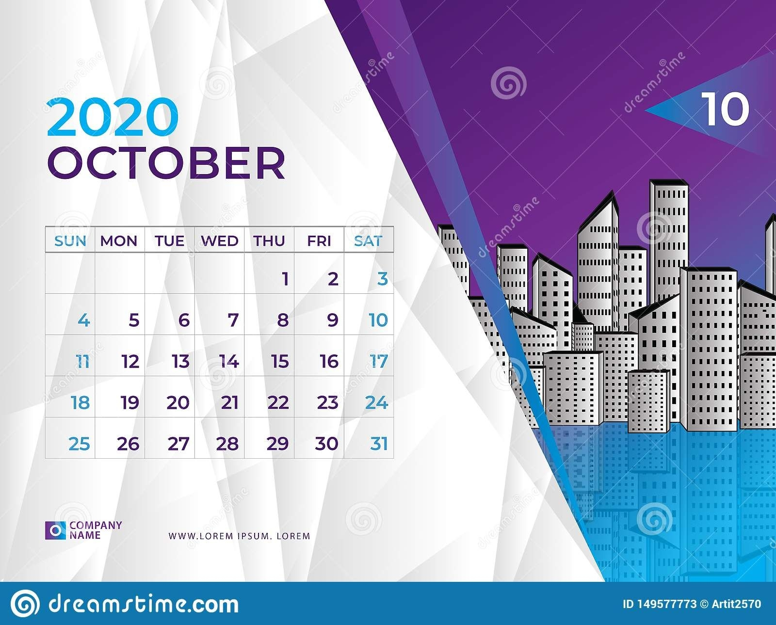 October 2020 Calendar Template, Desk Calendar Layout Size 8