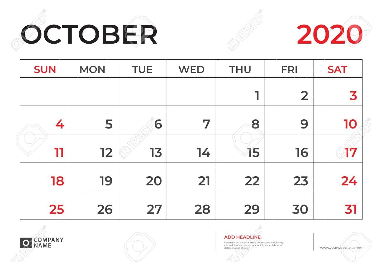 october 2020 calendar template, desk calendar layout size 9 5