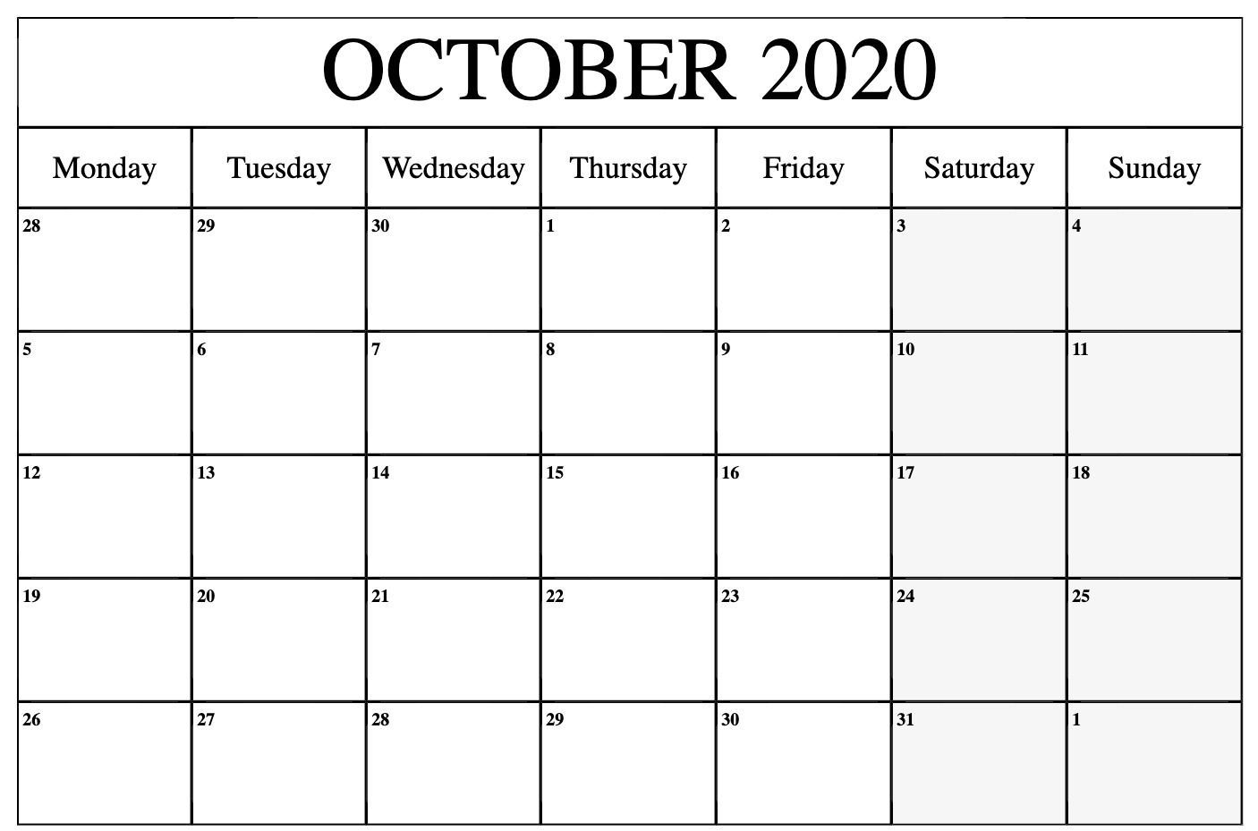 October 2020 Editable Calendar | Printable Calendar Word