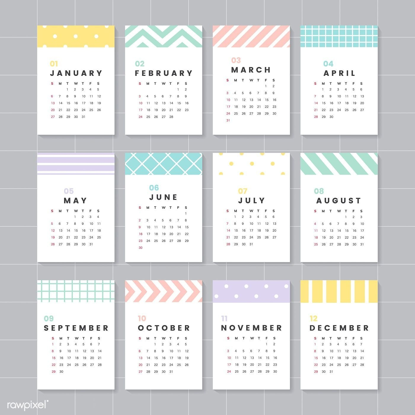 pastel patterned calendar 2019 vector set | free image