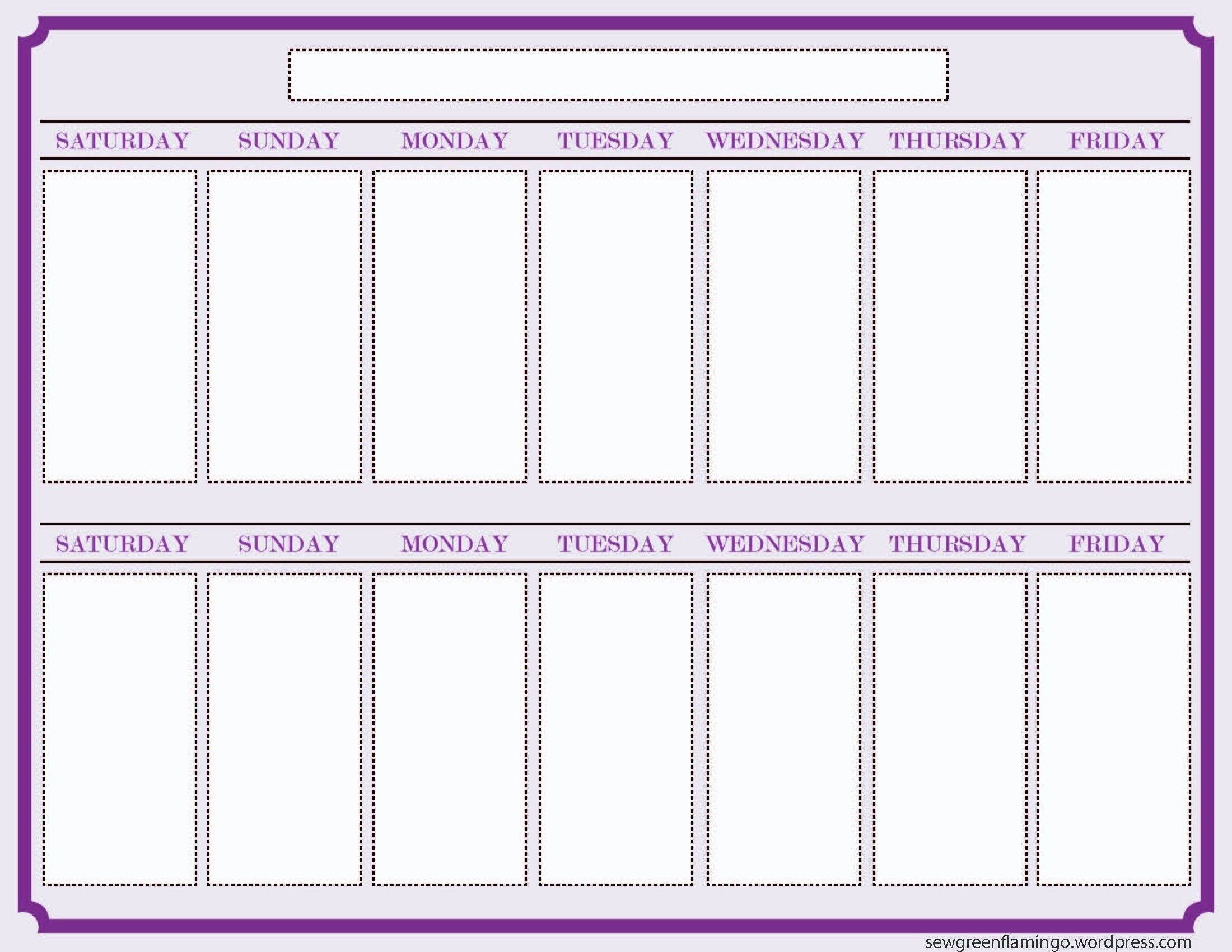 Printable 2 Week Calendar Two Week Calendar Template – Free
