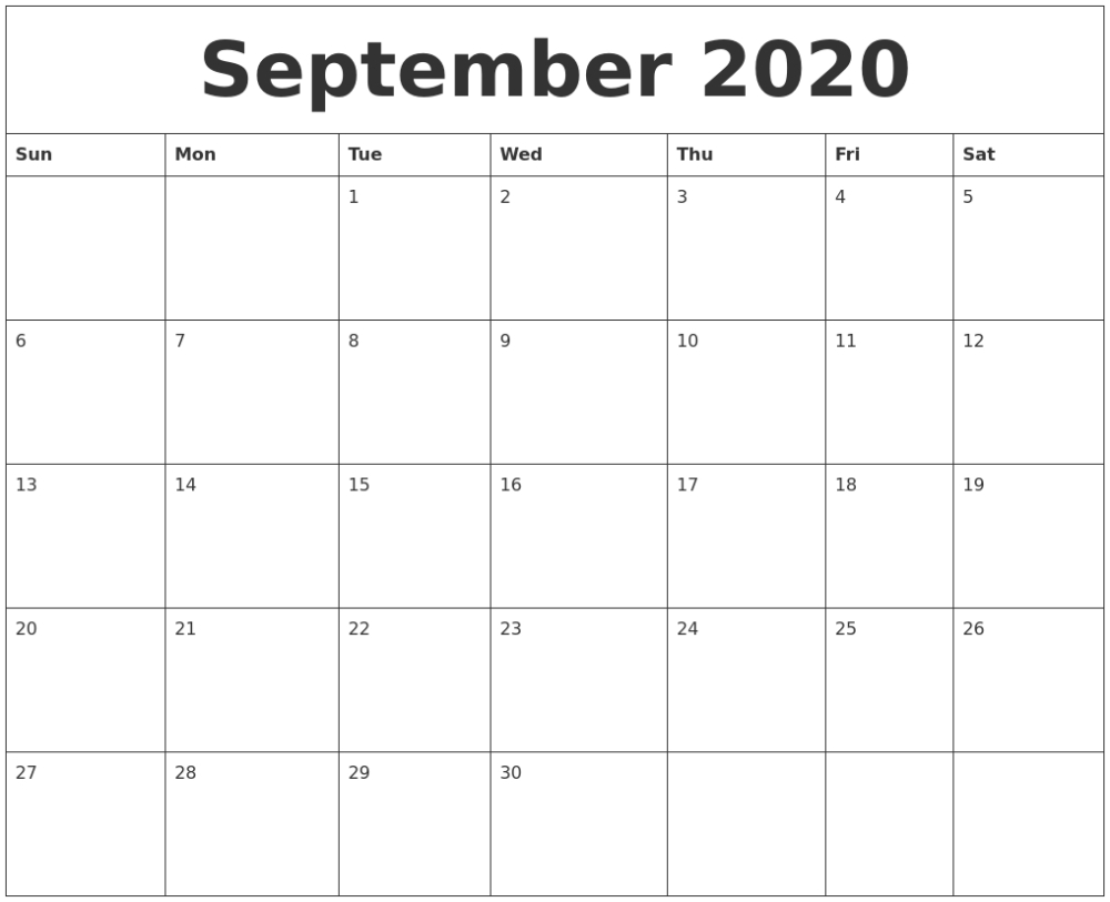 Printable 2020 Monthly Calendars Starting With Monday