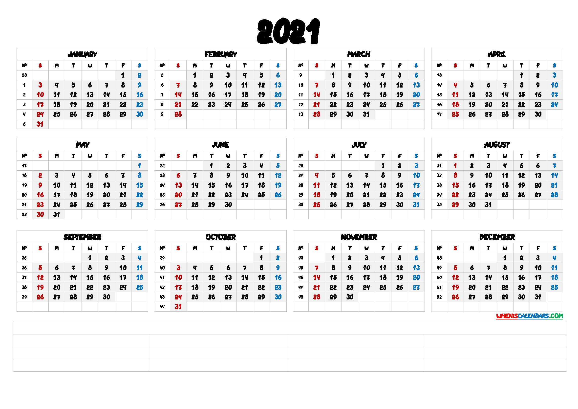 Printable 2021 Calendar With Week Numbers [premium Templates
