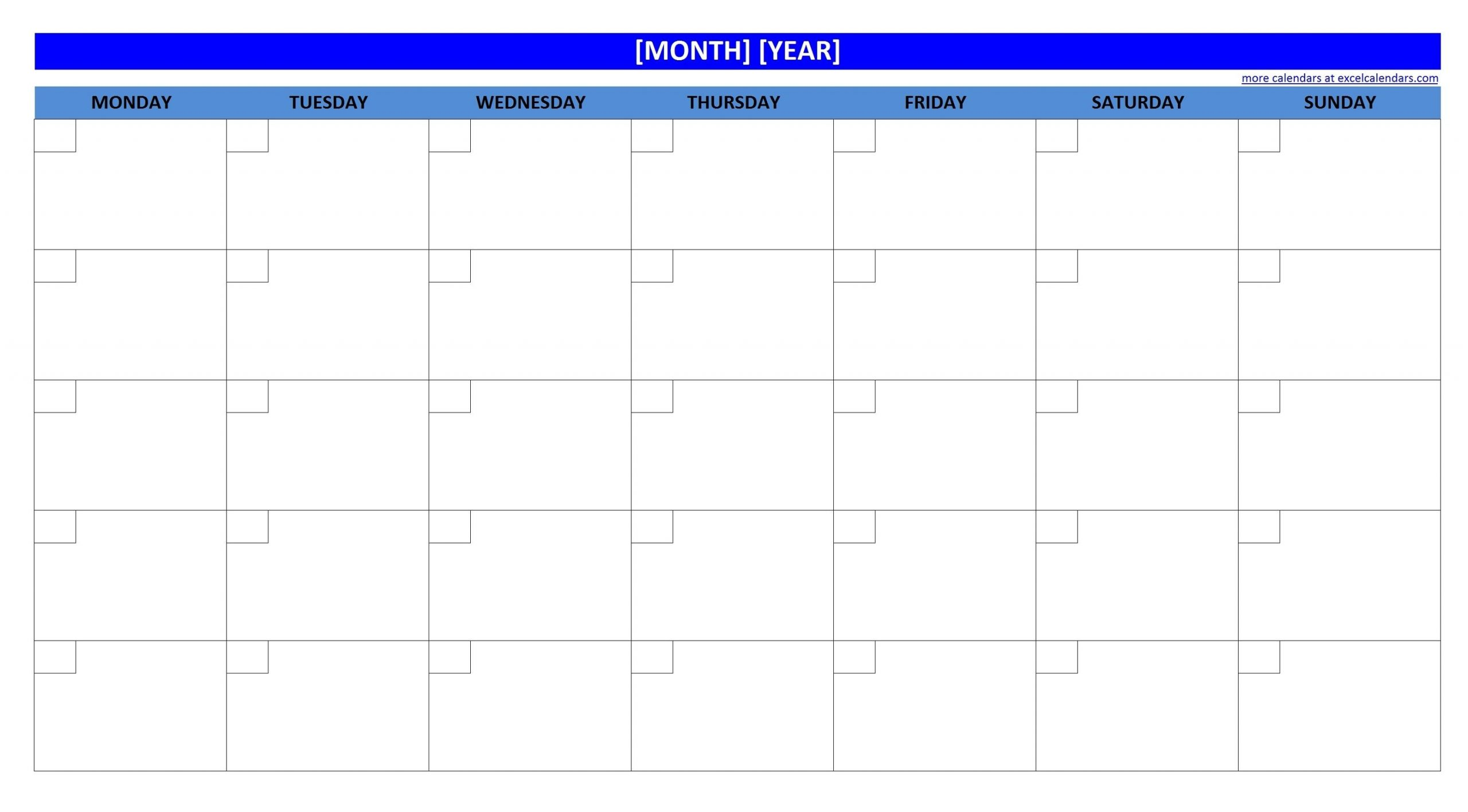 printable blank monthly calendar | activity shelter