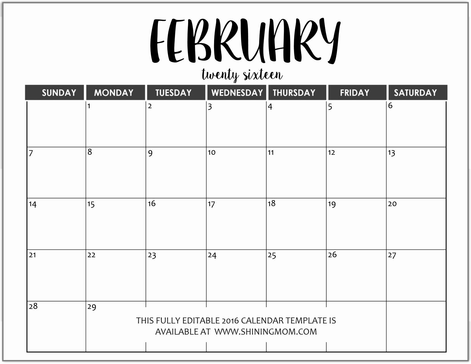 Printable Calendar You Can Type On | Editable Calendar