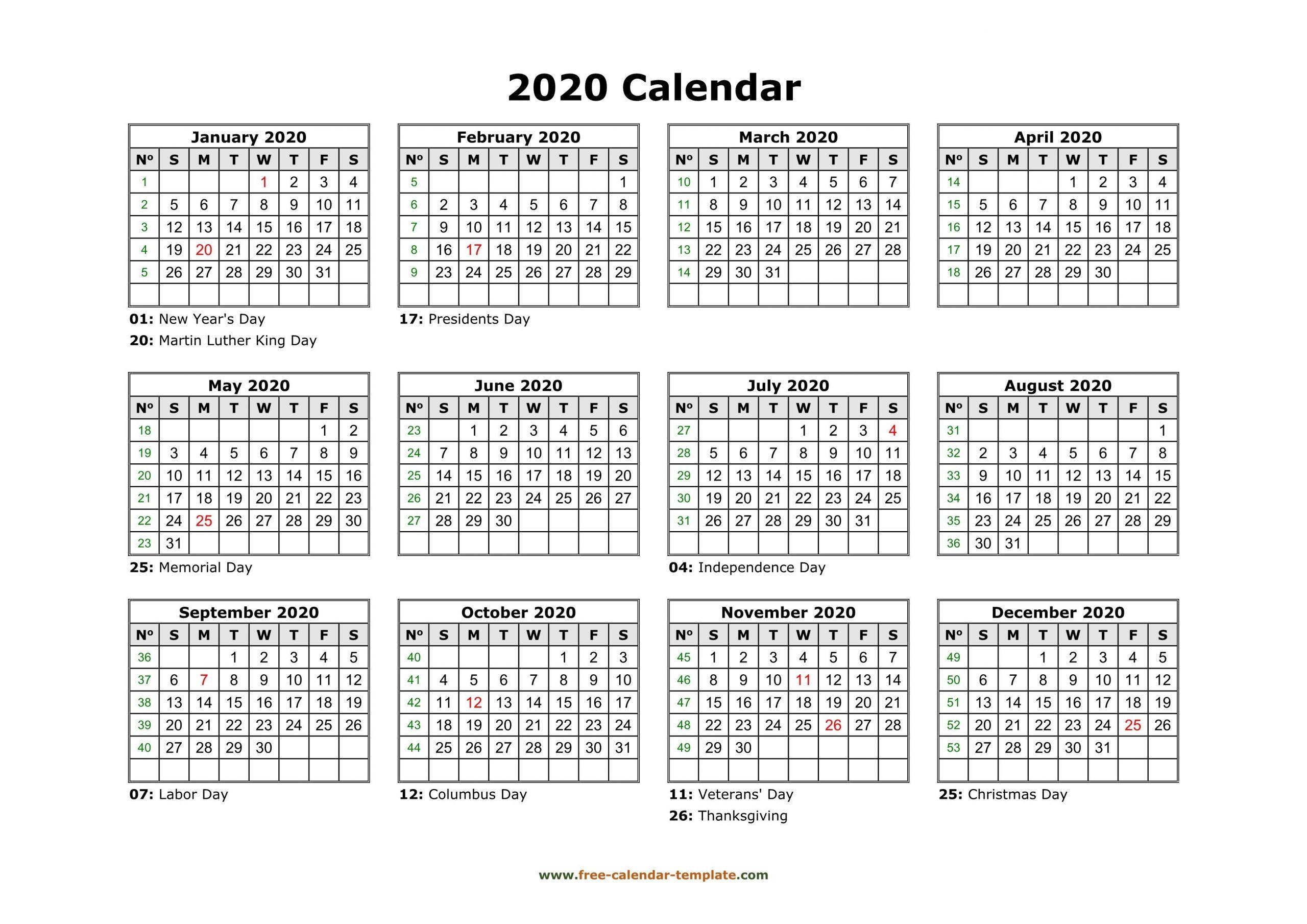 printable yearly calendar 2020 | free calendar template