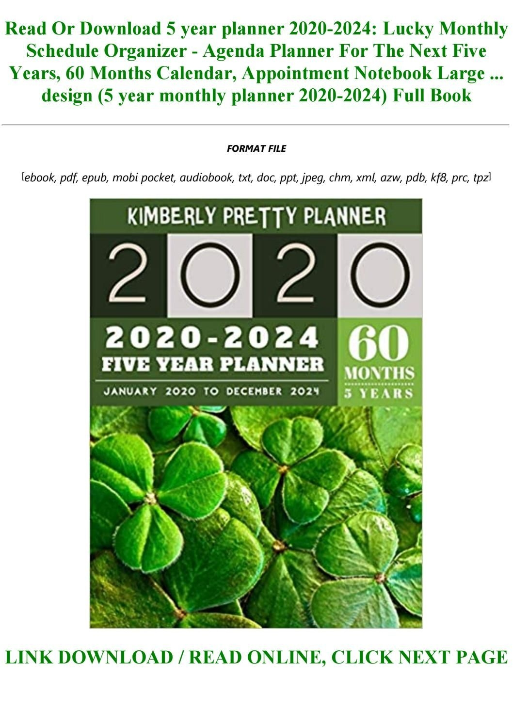 Readdownload 5 Year Planner 2020 2024: Lucky Monthly