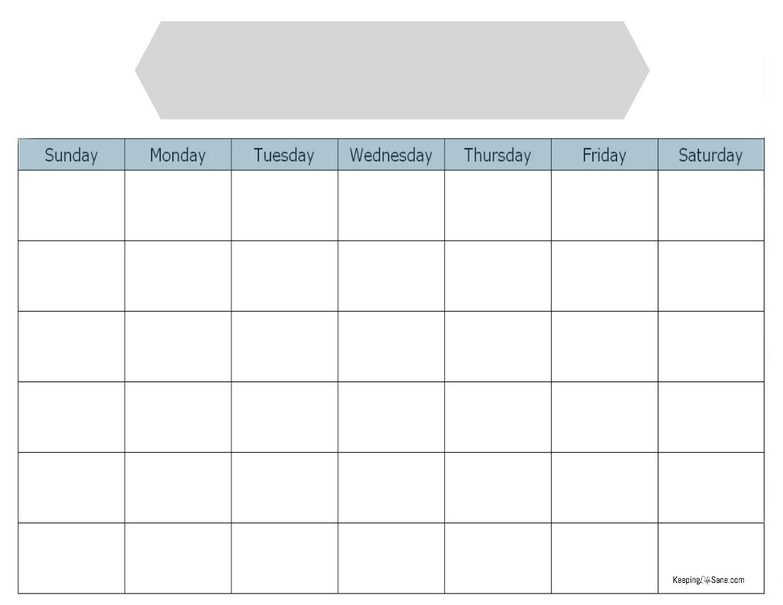 Simple Blank Calendar To Print For Free Keeping Life Sane