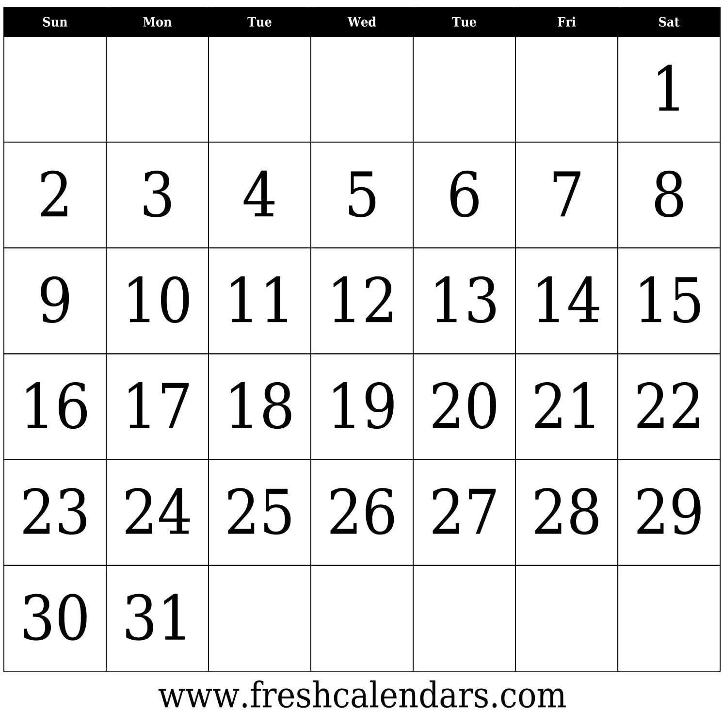 The 31 Day Calendar Printable | Printable Blank Calendar