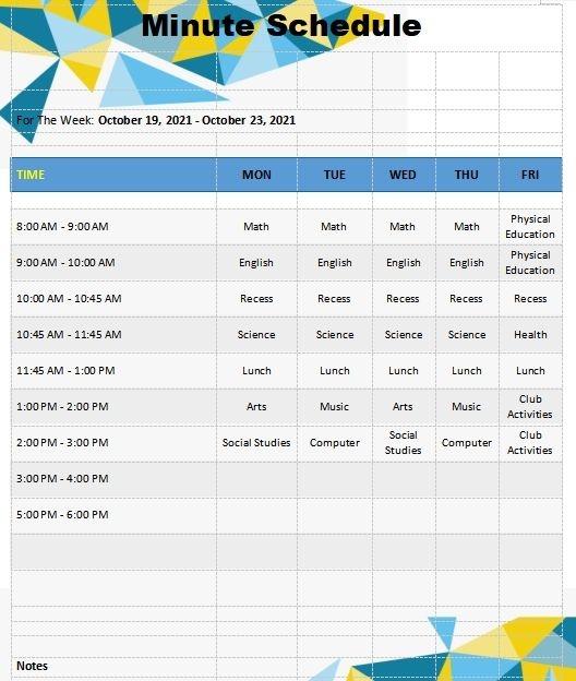 10 15 minute schedule template   template business psd