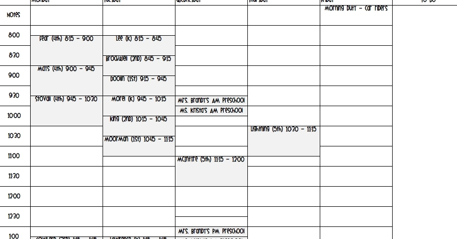 15 Minute Daily Schedule | Ten Free Printable Calendar