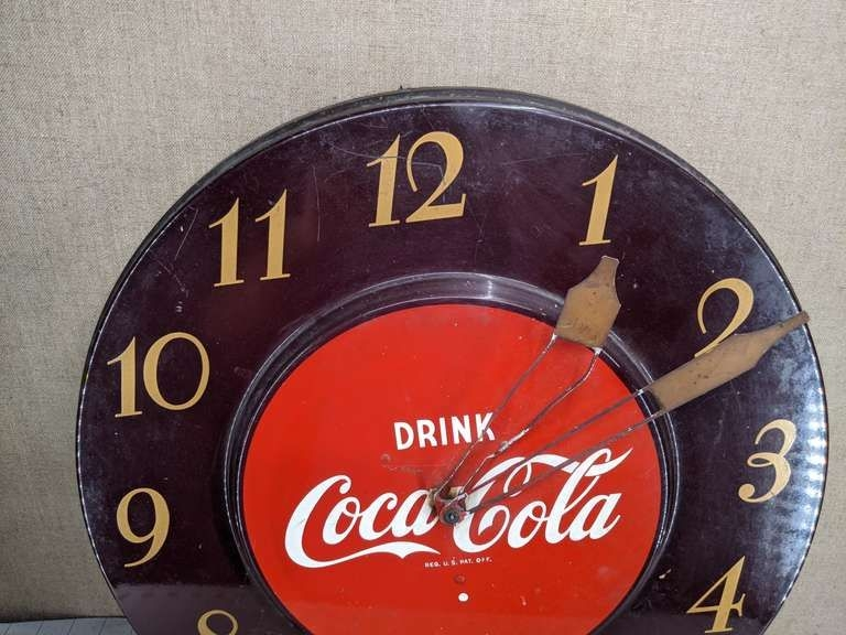 "18"" Coca Cola Clock With Ge Telechron Movement Note: Bent"