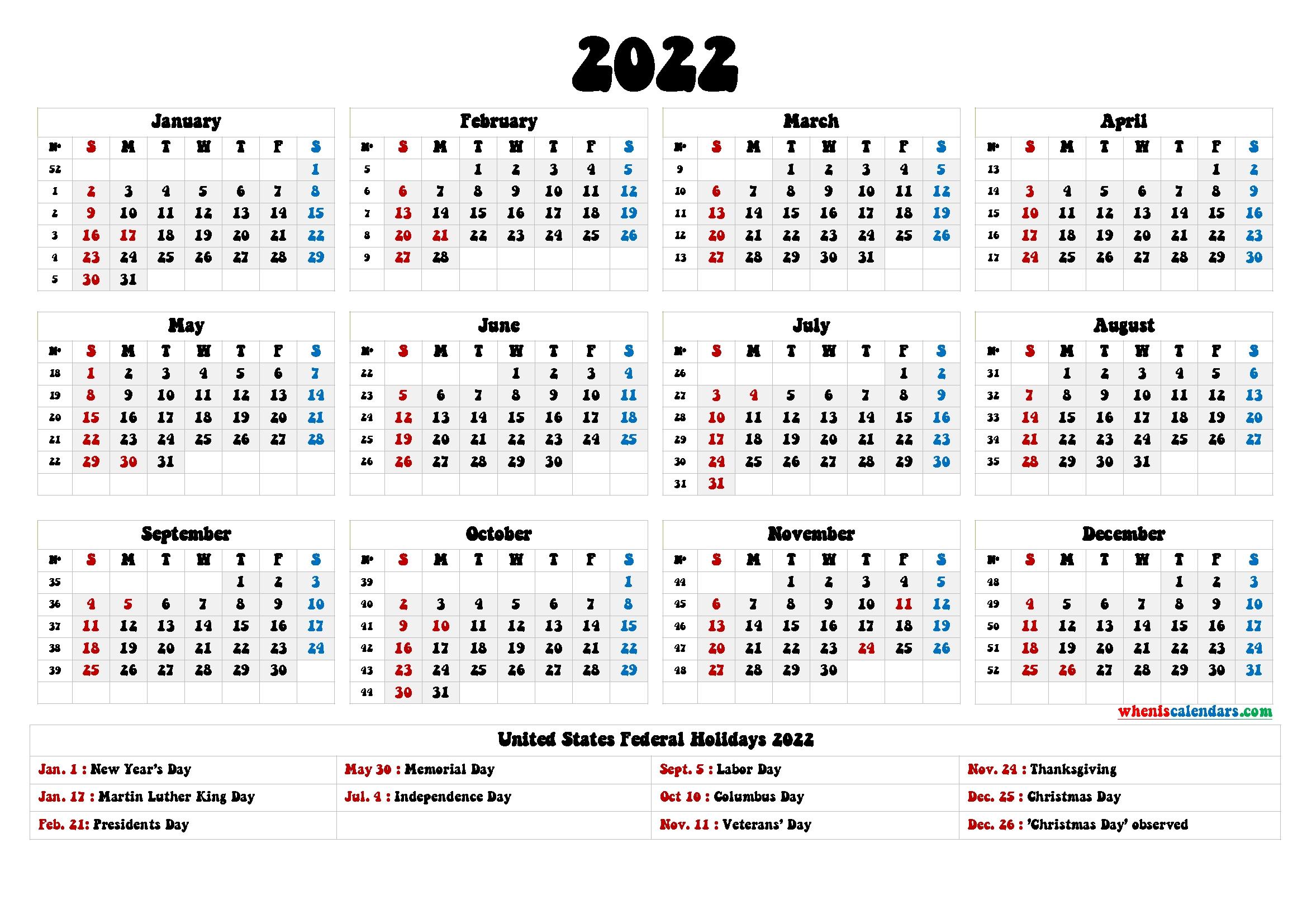 20 2022 Holidays Free Download Printable Calendar