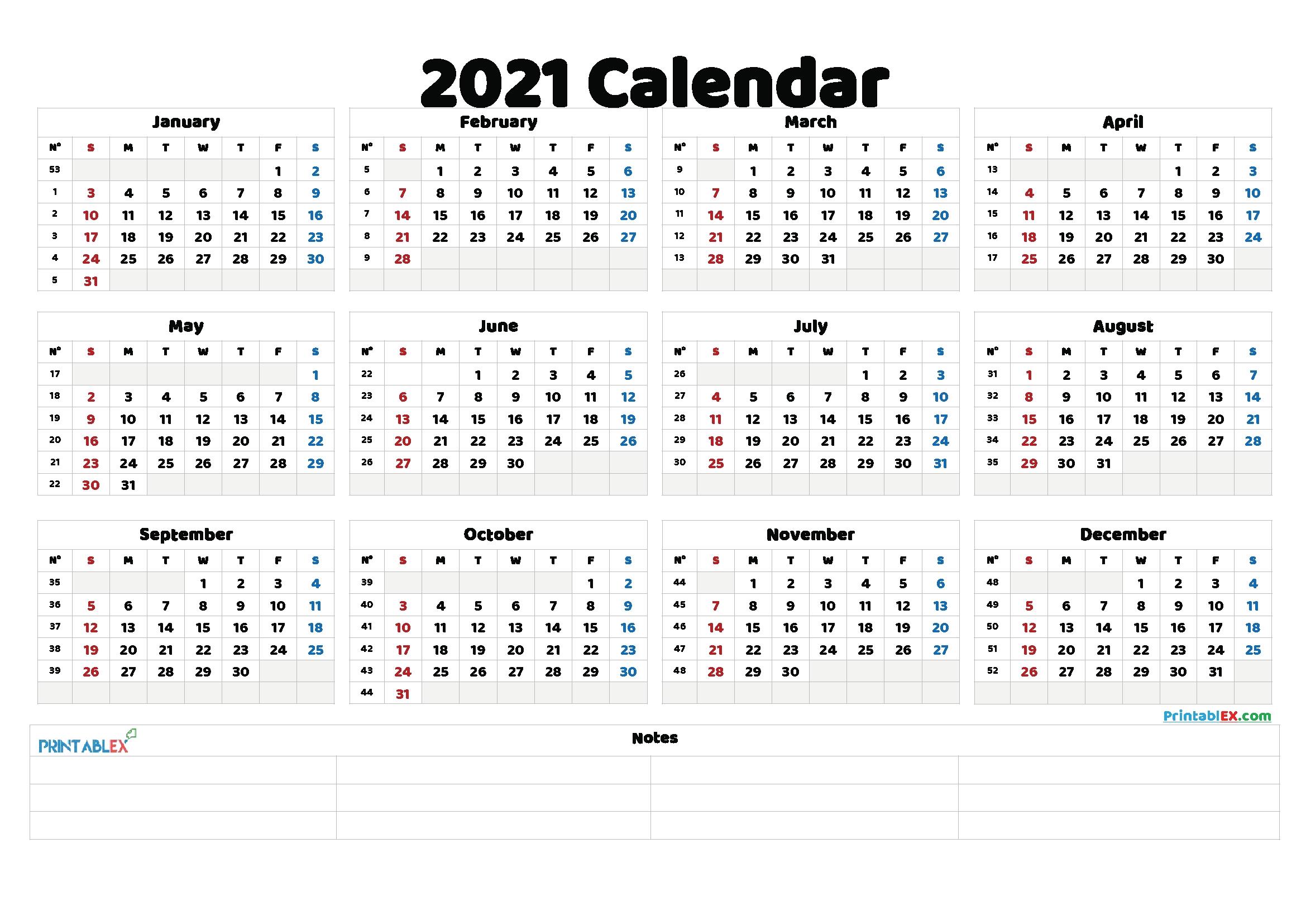 20 calendar 2021week number free download printable