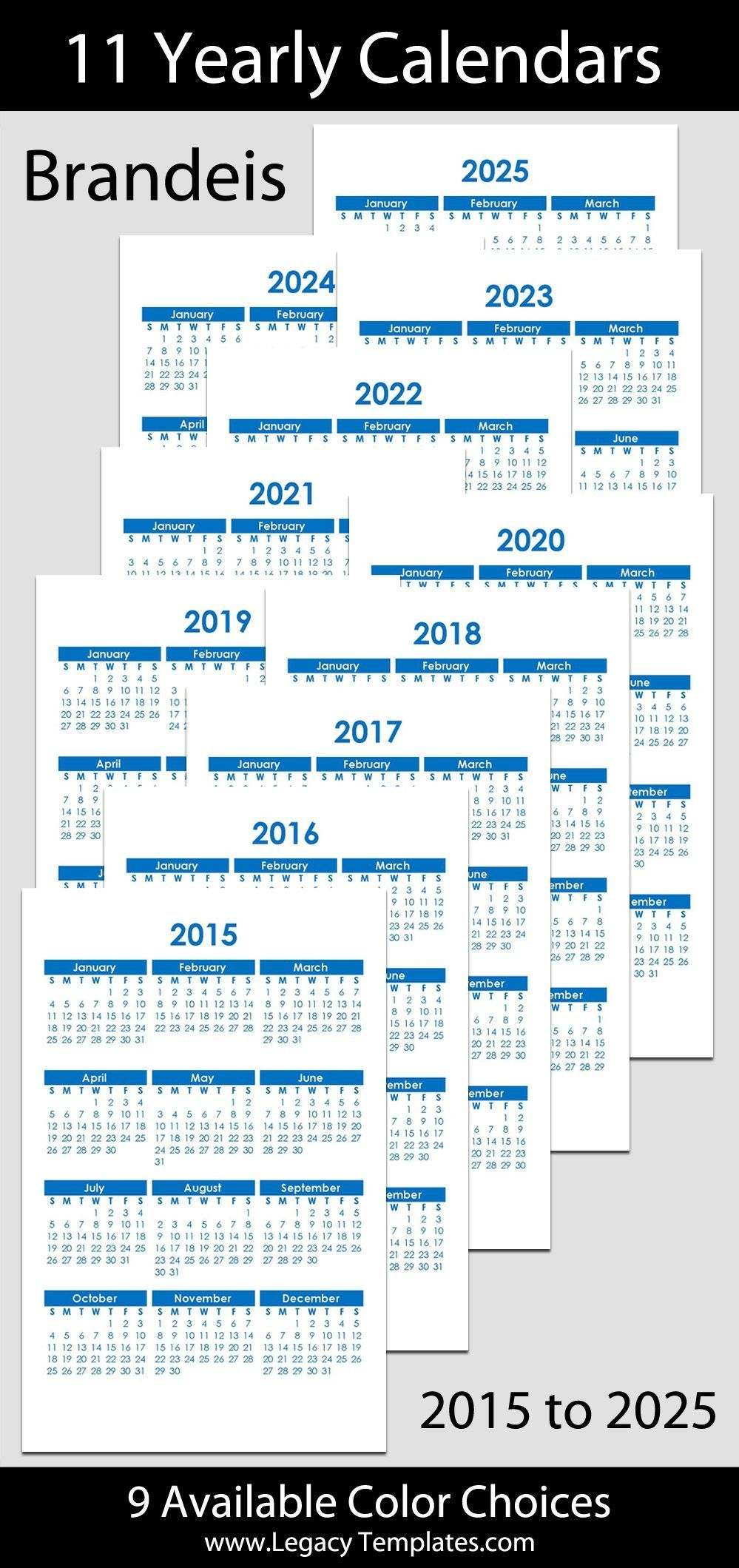 2015 To 2025 Printable Yearly Calendars Jr/half Letter