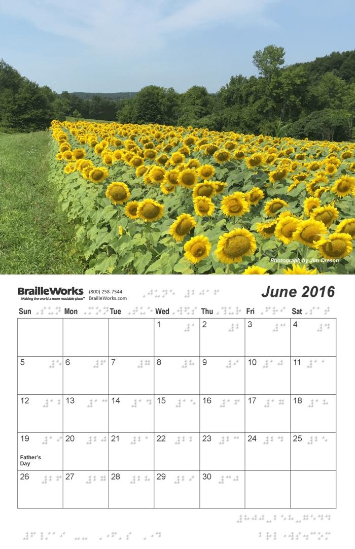 2016 braille calendars braille works