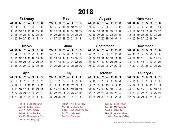 2018 accounting period calendar 4 4 5 free printable