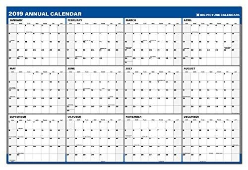 2019 annual laminated erasable business wall calendar 24