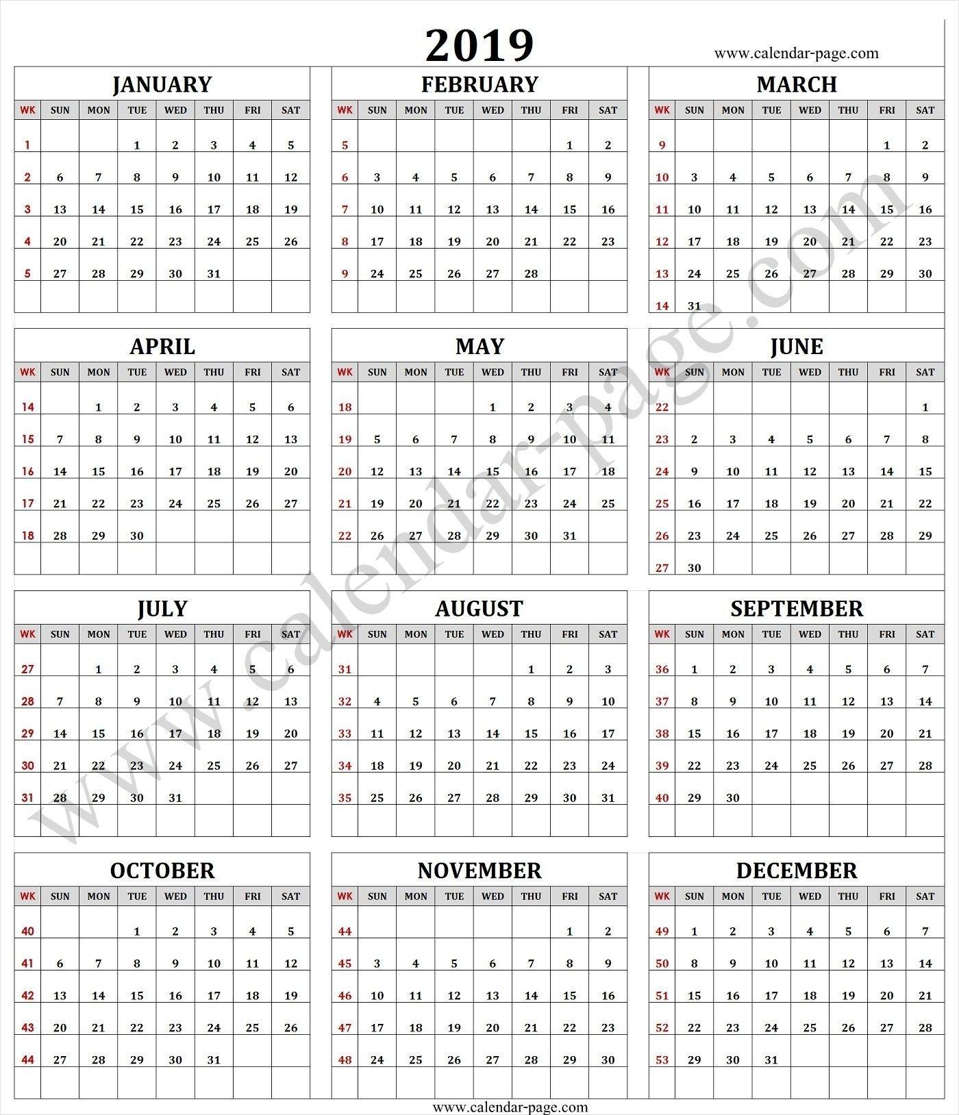 2019 calendar with week numbers free download printable