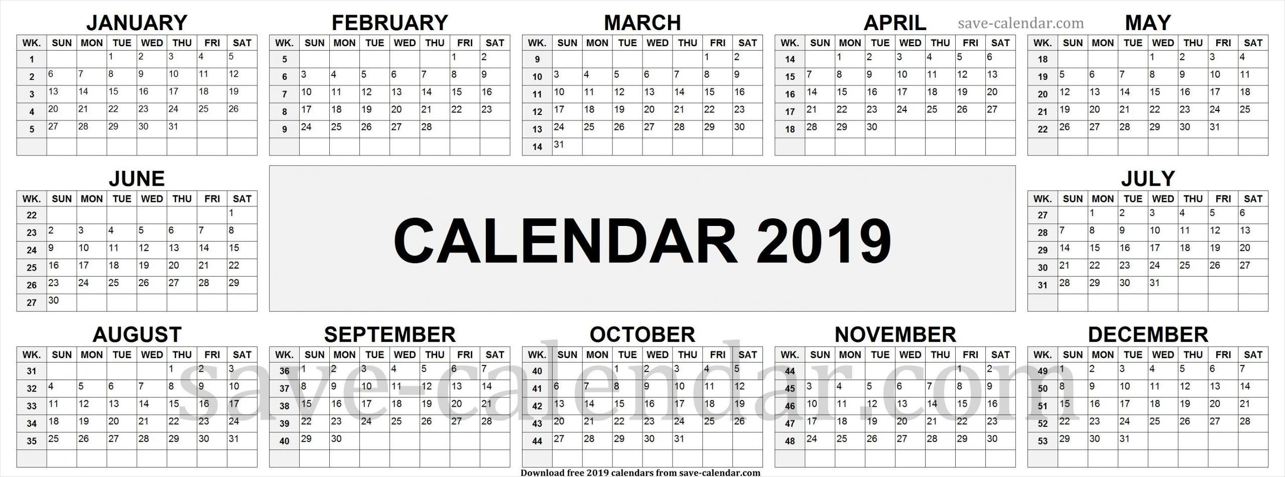 2019 Calendarweek Numbers | Week Number, Calendar 2019