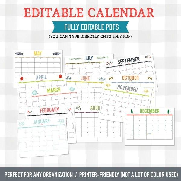 2019 Editable Calendar Any Organization (pdf Download