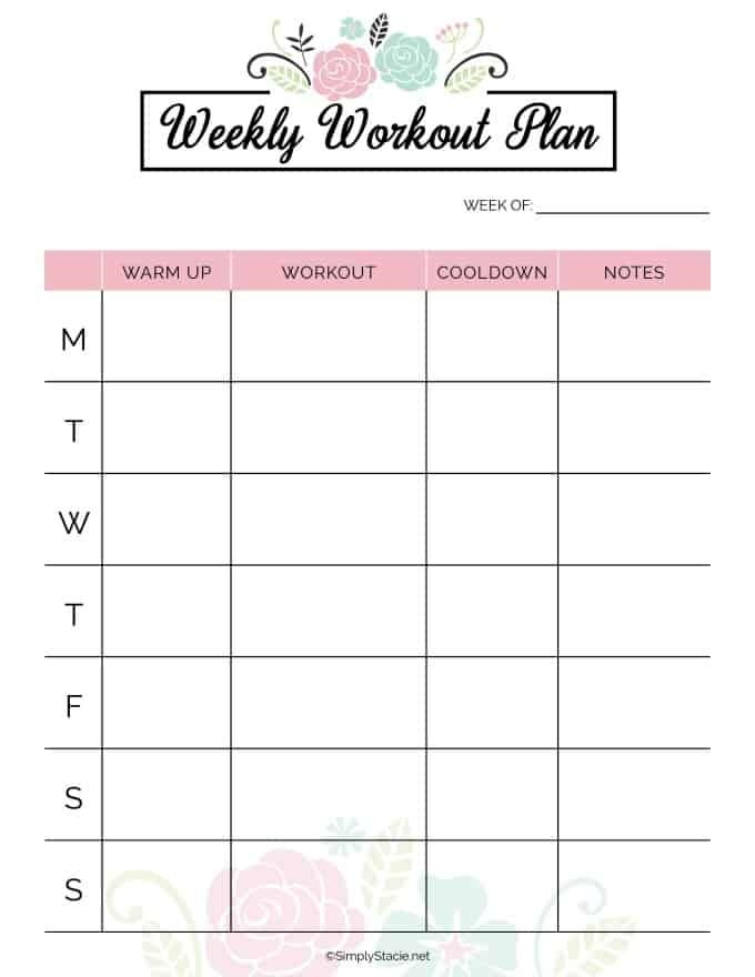 2019 fitness planner free printable simply stacie