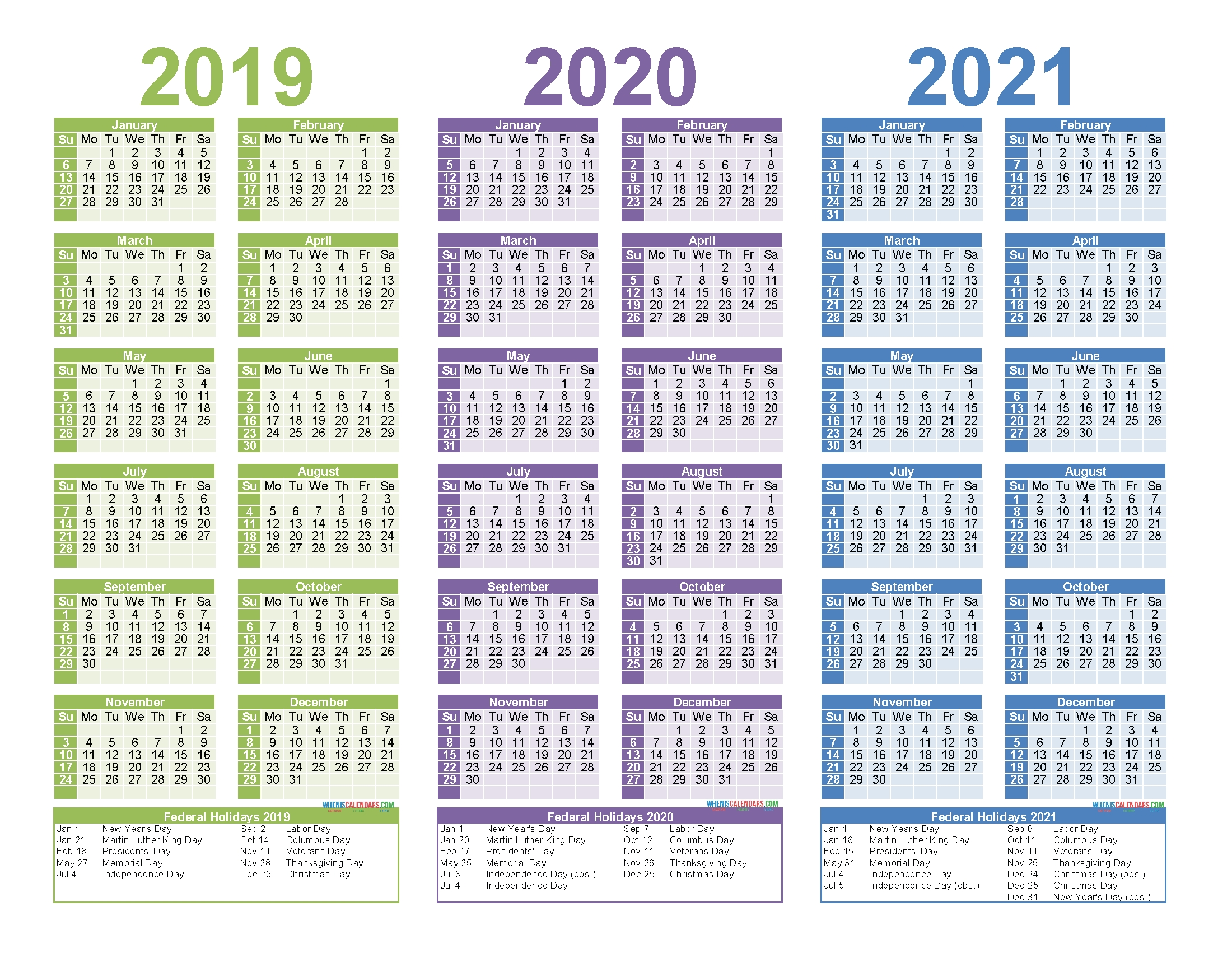 2019 To 2021 3 Year Calendar Printable Free Pdf, Word