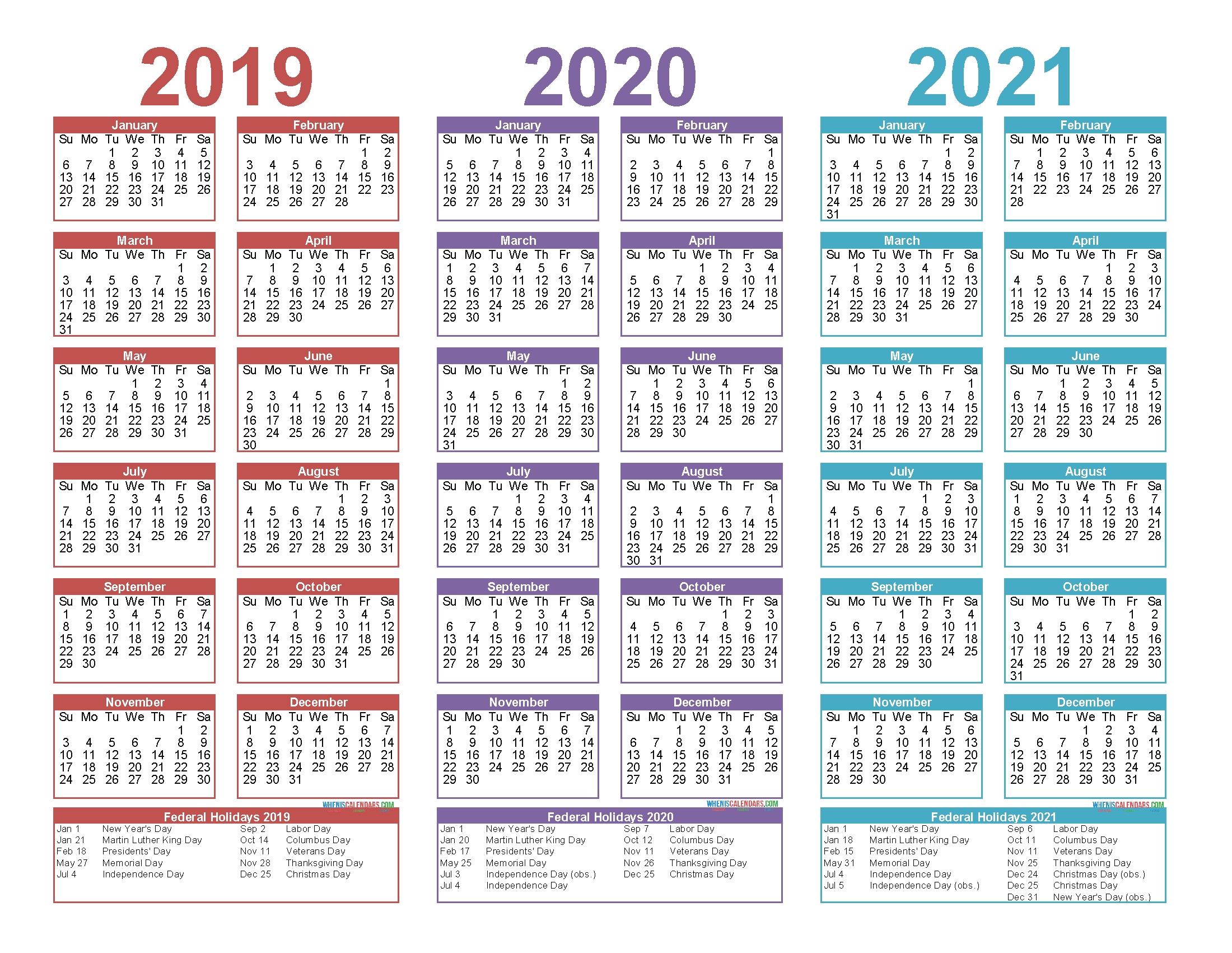 2019 to 2021 free calendar template 3 year calendar
