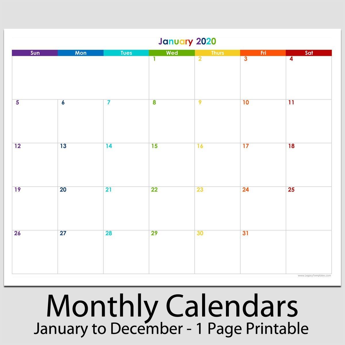 """2020 12 month landscape calendar 8 1/2"""" x 11""""   legacy"""