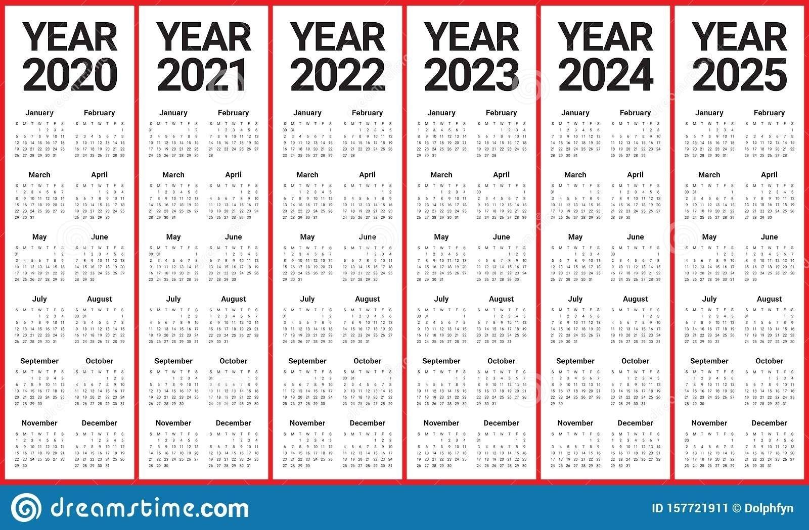 2020 2021 2022 2023 Calendar Printable One Page Calendar