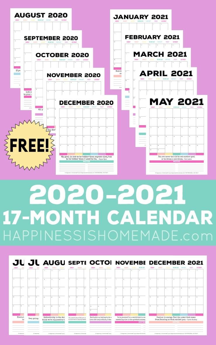 2020 2021 free printable monthly calendar happiness is