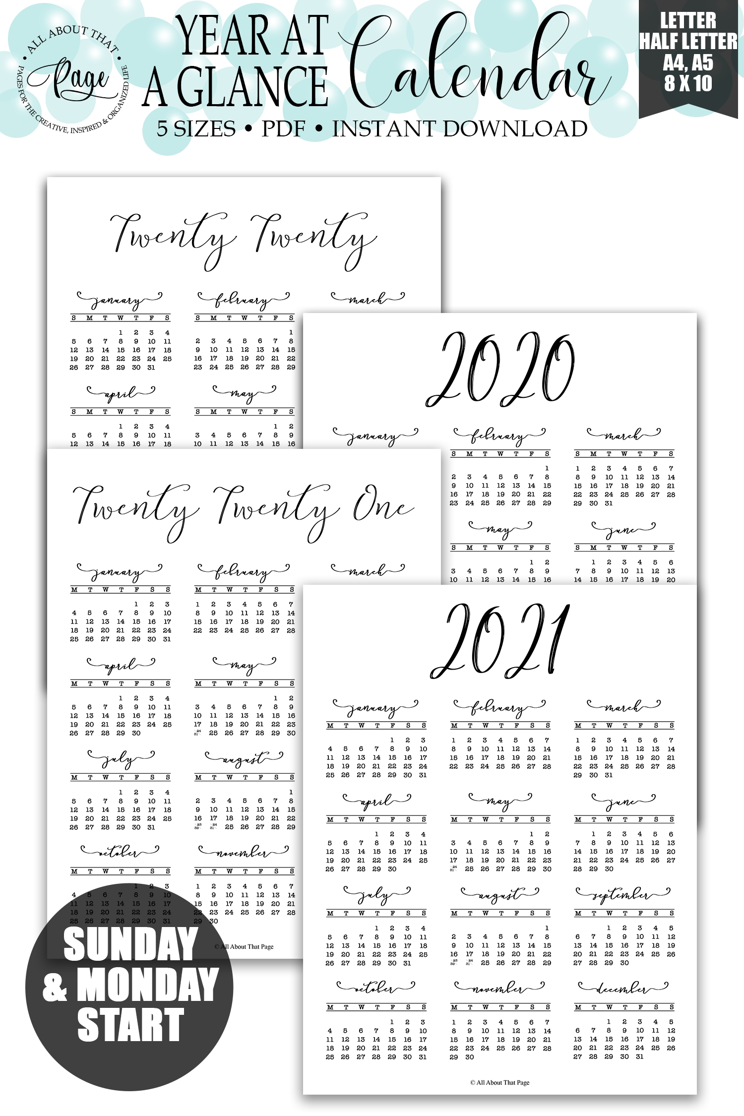 2020 2021 Year At A Glance Calendar Printable, Simple