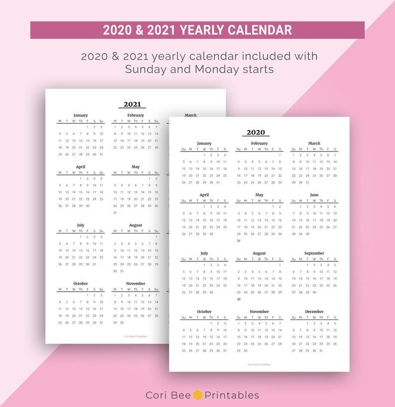 2020 2021 Year At A Glance Yearly Calendar Printable