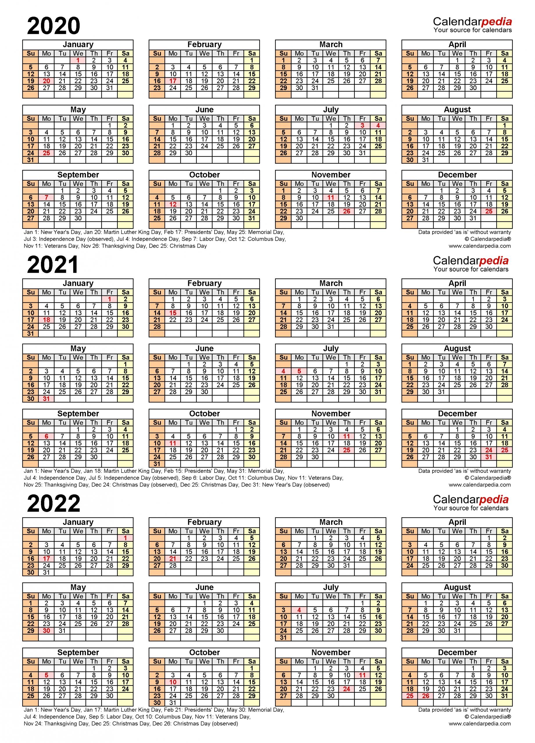 2020 2022 three year calendar free printable excel templates