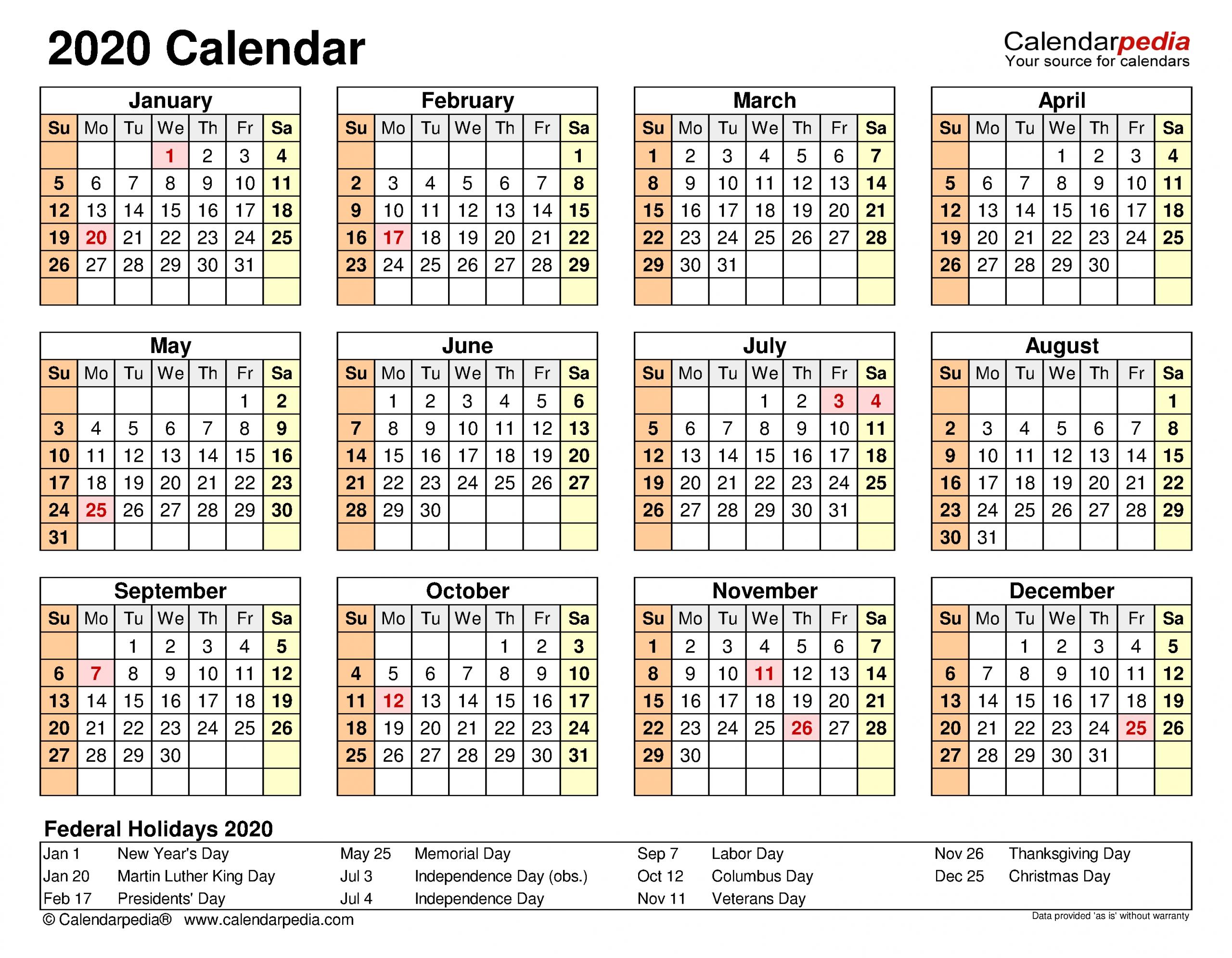 2020 Calendar Free Printable Excel Templates Calendarpedia