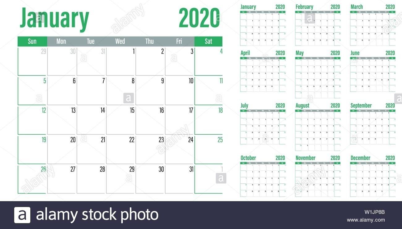 2020 Calendar Sunday To Saturday Calendar Inspiration Design