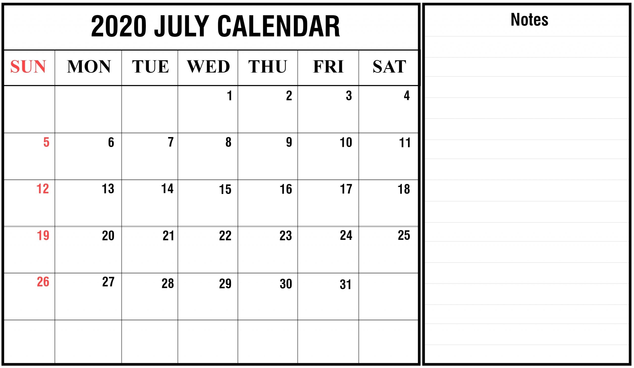 2020 Calendar You Can Edit | Month Calendar Printable