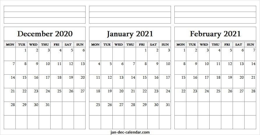 2020 december to 2021 february printable calendar pinterest