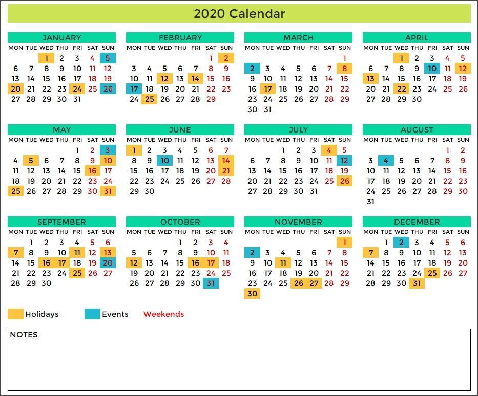 2020 excel calendar template free download spreadsheet