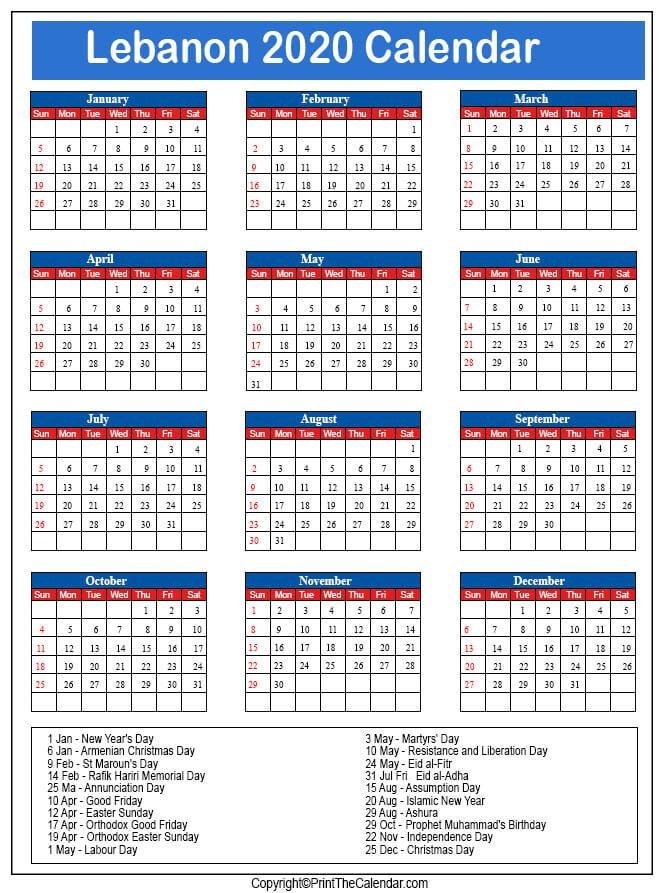 2020 Holiday Calendar Lebanon | Lebanon 2020 Holidays