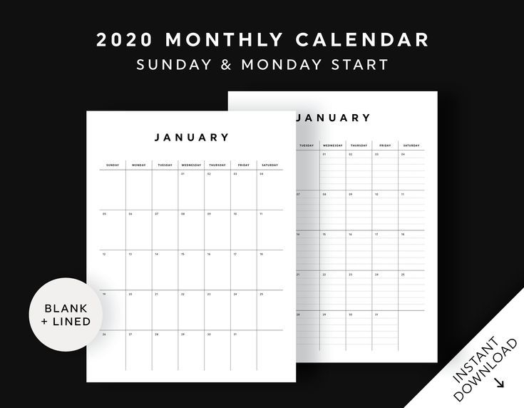 2020 Printable Calendar Pages, Monthly Calendar, Portrait